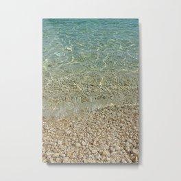 Aqua Ocean and Golden Pebbles Metal Print