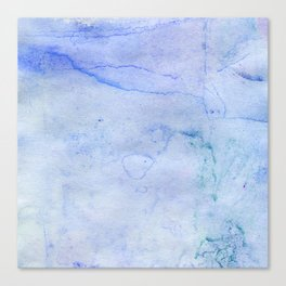 Hand painted blue green abstract watercolor pattern Canvas Print