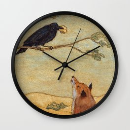 Fox and Crow, Aesop's Fable Illustration in the style of Arthur Rackham and Howard Pyle Wall Clock