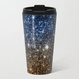 Galaxy Sparkle Stars Blue to Golden Bronze Ombre Travel Mug