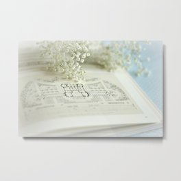 Book and Botanical - Still Life Metal Print