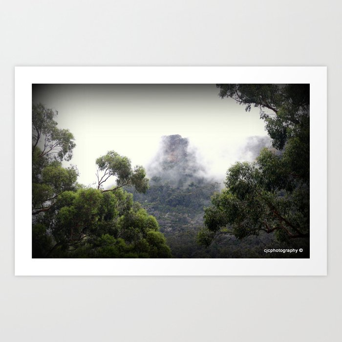 Fog covering Mt.William Art Print