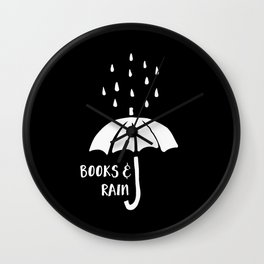 Books and Rain - Black and White (Inverted) Wall Clock
