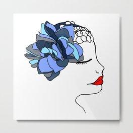 Blue Rose Headpiece Metal Print