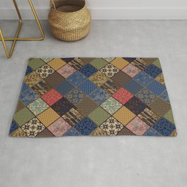 Rustic patchwork, Granny pattern, rustic, patchwork, fashion, folklore, popular, ethnic, multicolore Rug