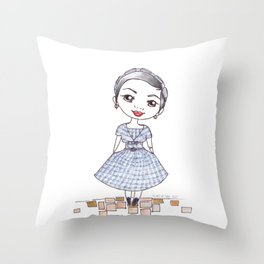 Vintage Gal ~ Nora Finds Throw Pillow