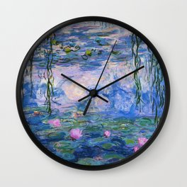 Blue Water Lilies  Wall Clock