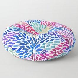Flowing Leaves Purple & Blue Pattern Floor Pillow