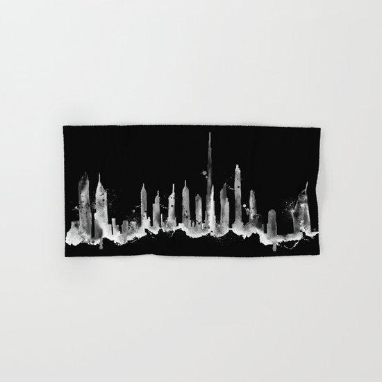 Black Dubai Skyline Hand & Bath Towel