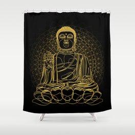 Golden Buddha on Black Shower Curtain