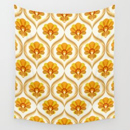 Ivory, Orange, Yellow and Brown Floral Retro Vintage Pattern Wall Tapestry