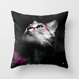 Supernova of the Ethereal Cat Throw Pillow