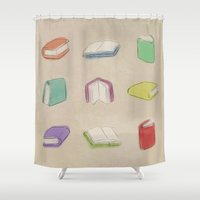 books Shower Curtains featuring Books by coalotte