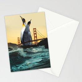 Golden Penguins Stationery Cards