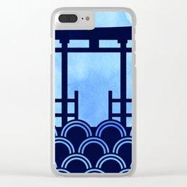 Blue Torii Gate Clear iPhone Case