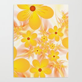 Yellow Flowers, Fractals Art Poster