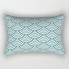 Teal Blue Japanese wave pattern Rectangular Pillow