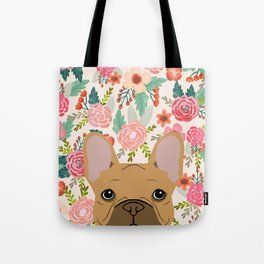 French Bulldog florals portrait dog breed custom pet portraits by pet friendly frenchie Tote Bag