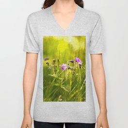 Beautiful meadow flowers - geranium on a sunny day - brilliant bright colors Unisex V-Neck