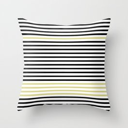 Black and White and Gold Stripes (Striped Pattern) Throw Pillow