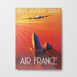 Vintage Mid Century Travel Poster Air France Jet African Islamic Mosque Monochrome Orange Sunset Metal Print