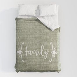 Family on Green Burlap Comforters
