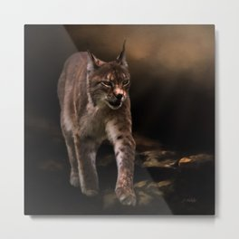 Into The Light - Lynx Art Metal Print