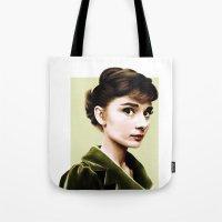 audrey hepburn Tote Bags featuring Audrey Hepburn by Sophie Eves