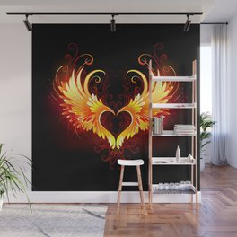 Angel Fire Heart with Wings Wall Mural