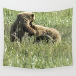 Brown Bear Cubs - The Provocation Wall Tapestry