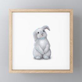 White Rabbit Boy isolated Framed Mini Art Print
