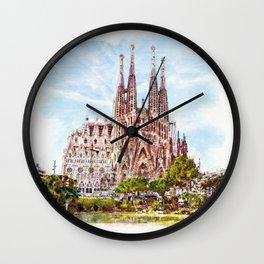 La Sagrada Familia watercolor Wall Clock