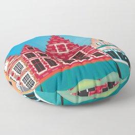 Bruges, Belgium - Skyline Illustration by Loose Petals Floor Pillow