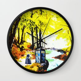 Tardis Art Speaking With Dalek Wall Clock