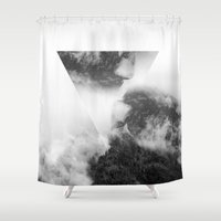forrest Shower Curtains featuring Triangle Forrest  by GeoDesigned