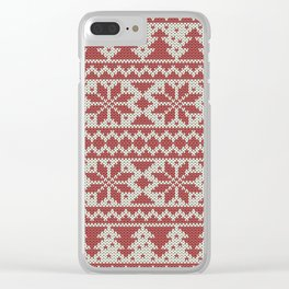 Traditional Christmas Pattern Clear iPhone Case