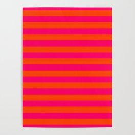 Super Bright Neon Pink and Orange Horizontal Beach Hut Stripes Poster