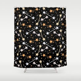 Night sky with gold silver stars Shower Curtain