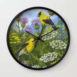 Goldfinches and Thistle Wall Clock