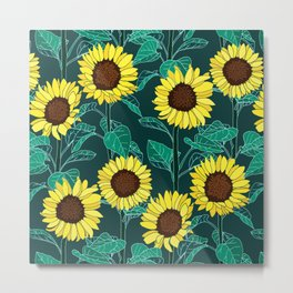 Sunny Sunflowers - Emerald Metal Print