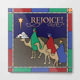 Rejoice! Three Wise Men Christmas Stained Glass Metal Print