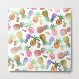 Aloha Pineapples, Iridescent Effects Metal Print