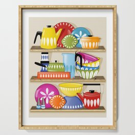 Cathrineholm Pottery Displayed On Kitchen Shelves Print Serving Tray