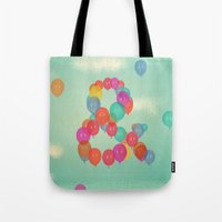 balloon Tote Bags featuring Balloon by Pepe Psyche