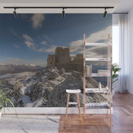 Winter panoramic view with ancient castle Wall Mural
