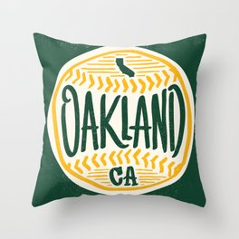 Hand Drawn Baseball for Oakland California with custom Lettering Throw Pillow