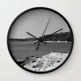 coastline bay at summer pula croatia istria black white Wall Clock