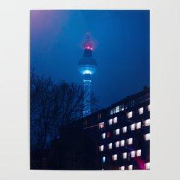 Berlin TV Tower at Night Poster