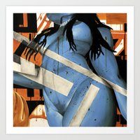 Electric Lady Blue (nude 6) Art Print