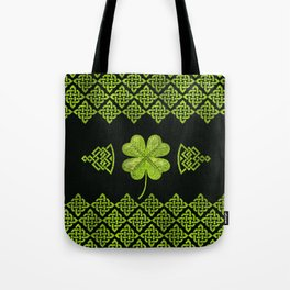 Irish Shamrock Four-leaf clover with celtic decor Tote Bag